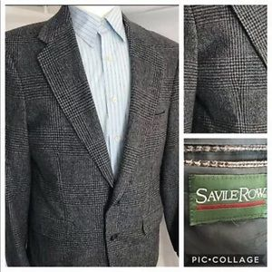 Savile Row 40R Gray Glen Plaid Wool Blazer